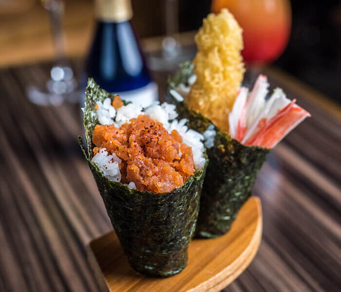 Spicy Tuna & Shrimp Tempura Hand Roll, Sushi, Conroe